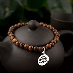 🤎New Wooden Natural Stone Lotus Buddha Bracelet